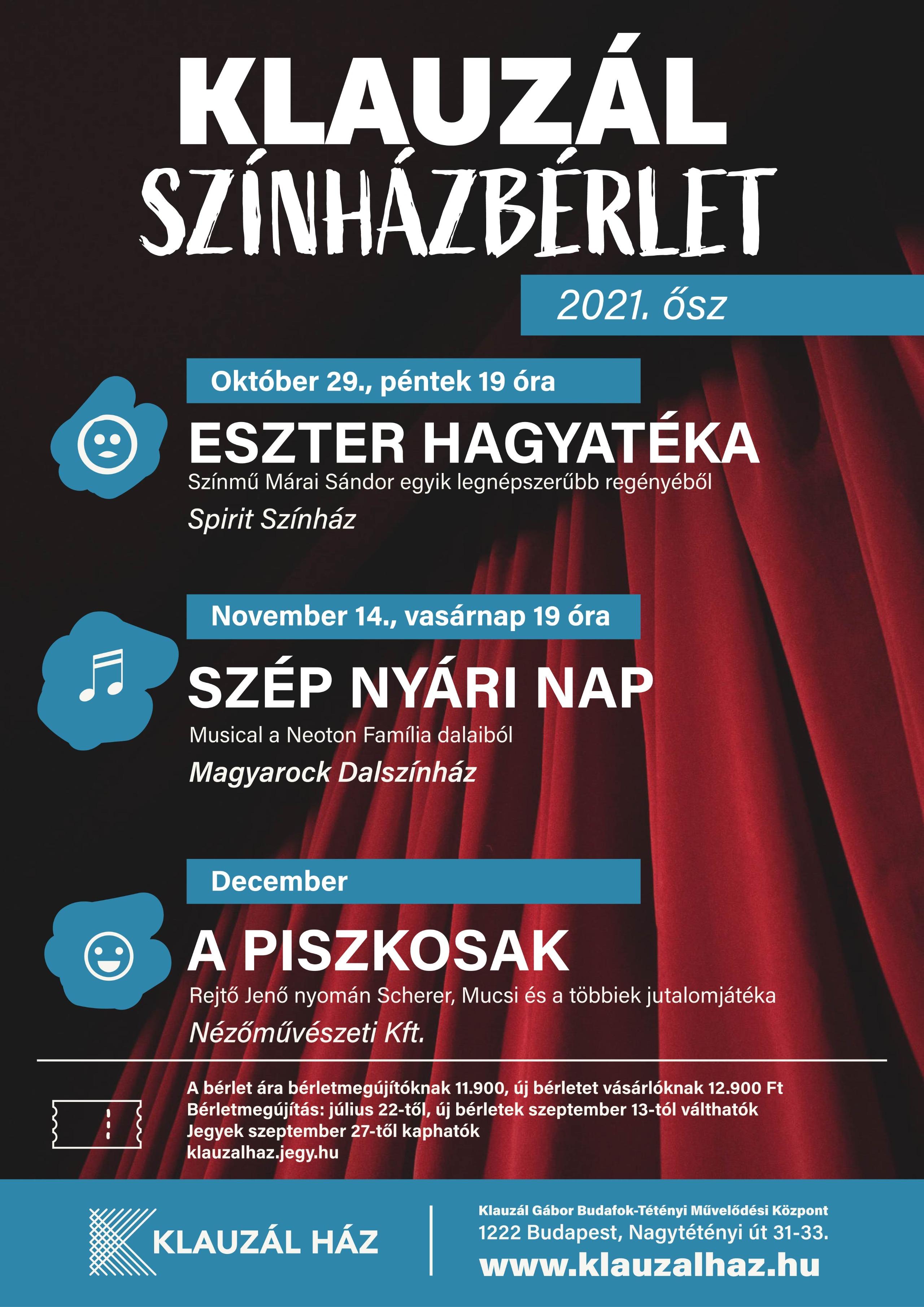 Kauzál Színházbérlet 2021 Ősz
